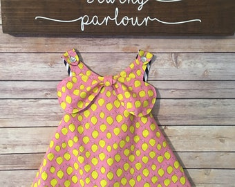 Reversible pinafore. Tunic. Top. Pink with yellow lemons. Navy and white stripe. Girls summer top.  Size 2, 3, 4, 5, 6, 7, 8.