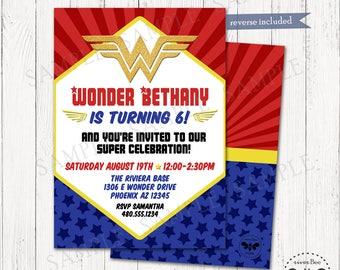 Wonder Girl Birthday Party Invite, Printable Girl Superhero Invitation, Wonder Woman Inspired Digital Invite, Girl Superhero Birthday Party