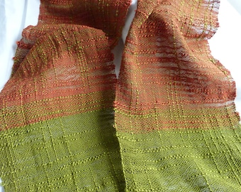 Handwoven Silk Scarf - Copper and Green