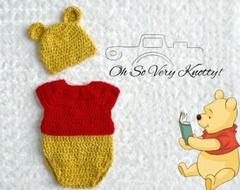 Handmade Disney's-Inspired Winnie the Pooh Crochet Baby Costume/Photo Prop Sizes Newborn to 18 months