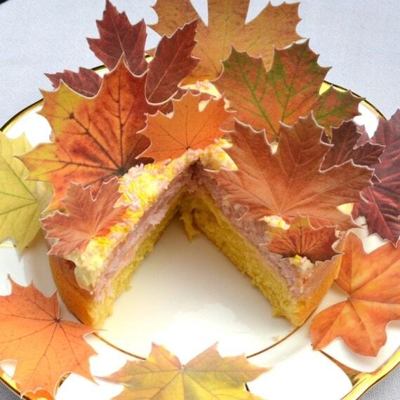 Edible Autumn Leaves Cake Decoration
