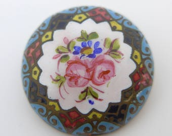 Vintage Antique Edwardian Hand Painted Enamel Flower Button Stud Bachelor Button