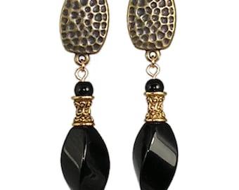 Black Onyx Clip-On Earrings - Black Clip-On Earrings - Black Stone Earrings