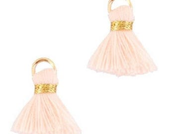 Beaded tassels, tassels, tassel pendant-1.5 cm-3 pcs.-Color selectable (color: Cream peach)