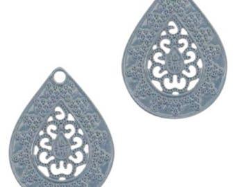 Bohemian Pendant-4 pcs.-20 x 15 mm-Drop shape-color selectable (color: dark blue)