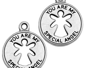 DQ Metal pendant Angel-1 pc-Zamak-color selectable (color: silver)