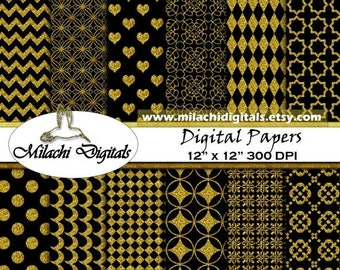 60% OFF SALE Glitter Gold and Black digital paper, background, scrapbook papers, hearts, polka dots, chevron, commercial use - M285