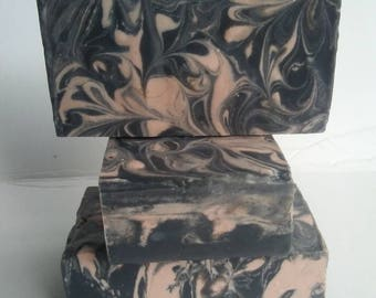 Red Rose Clay Soap Bar with Activated Charcoal