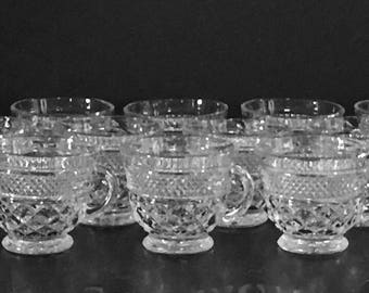 Set of 12 Wexford Clear Glass Cups by Anchor Hocking,Clear Pressed Crystal,Footed Punch Cups,Snack Cups,Replacement Glass Cups
