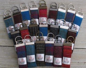 Harris Tweed Pure Wool Keyring On Chunky Metal Key Fob - Choice of Designs