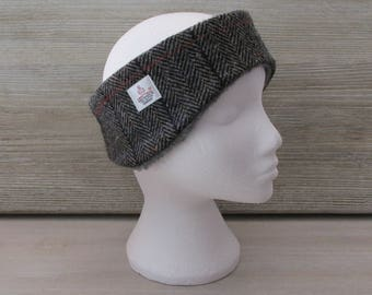 Harris Tweed Grey Herringbone with Checks & Flecks Luxury Ear Warmer Headband