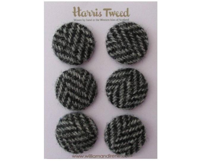 Harris Tweed Pure Wool Black & Grey Herringbone Handmade Covered Set of 6 Buttons 24mm Diameter