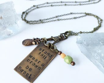 pineapple necklace in brass with green and orange glass detail// stand tall wear a crown be sweet