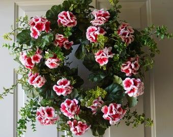 Geranium Wreath, Pink Geranium Fall Wreath , Door Wreath , Summer Wreath ready to ship 24in