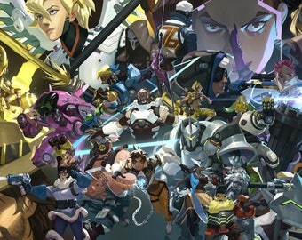 "One Year Anniversary Overwatch Poster - Overwatch Video Game Print - Overwatch Game Poster - All Heroes Art - Size 13x20"" 24x36"" 32x48"""