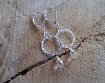Crystal on Sterling Silver earrings / / minimalist earrings