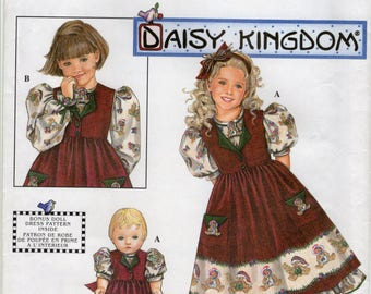 Simplicity 8263 Daisy Kingdom Girls Dress and Pinafore Pattern Sizes 3-4-5-6 and Doll Dress Pattern