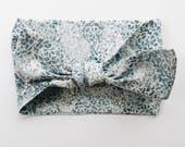 Indigo Light Blue Floral Batik Headwrap/Headband - One Size Fits