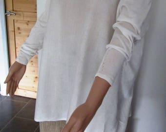White cotton knit sweater