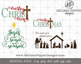 Mini Religious Christmas SVG Bundle,Merry Christ Mas,Jesus is the Reason for the Season,Nativity Manger,SVG files,religious christmas svg