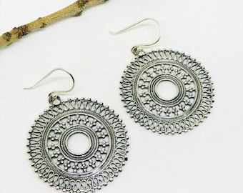 Ethnic, tribal, bohemian Sterling silver 92.5 round earrings. Diameter -36mm. Weight-12gms for pair