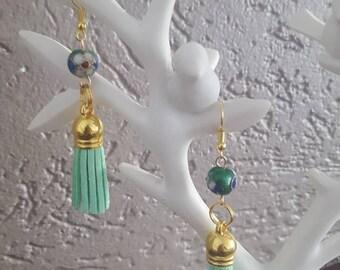 Green Pompon water suede golden earrings