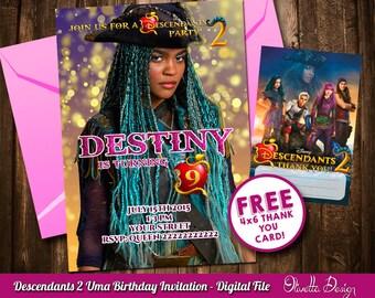 Descendants 2 Invitation for Birthday Party - Uma - Digital File