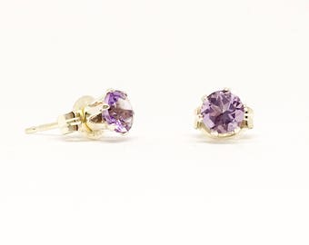 Brazilian Amethyst stud earrings, sterling silver studs, 4mm gemstone studs, February birthstone, dainty earrings