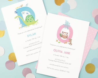 Personalised Alphabet Christening Invitations