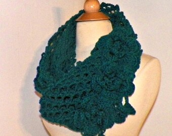 On Sale- Cowl Infinity Scarf Teal Blue Green Traditional Irish Lace Circle  Mesh Chunky Neckwarmer Winter With Flower Brooch Long