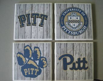 University of Pittsburgh Themed Ceramic Tile Coasters - Set of 4