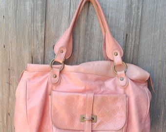 Great Big Pink Sofia C Genuine Leather Made In Italy Purse Bag with Tassels and Heart Accents