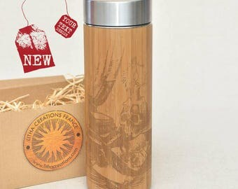 Customized Thermos Engraved Bamboo Wood OCCULT Stainless Steel with Screw Lid
