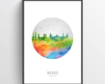 Madrid Poster, Madrid Skyline, Madrid Cityscape, Madrid Print, Madrid Art, Madrid Decor, Home Decor, Gift Idea, ESMD20P
