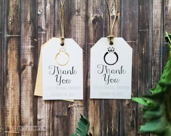 White Personalized》THANK YOU TAG《Cutout Ring/Bridal Shower/Engagement/Wedding Favor/Gift Tag
