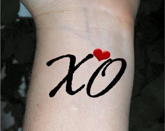 Temporary tattoo XOXO tattoo heart tattoo fake tattoos small tattoo
