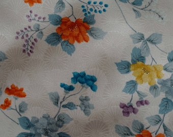 Vintage Japanese Silk Kimono Fabric Chrysanthemum and Flowers