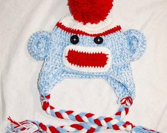 newborn light blue red & white Crochet SOCK MONKEY Hat with large pom pom