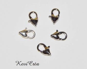 20 x hearts matte silver metal clasps