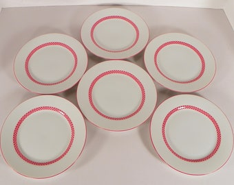 Fitz & and Floyd CHEQUERS Bread and Butter Plate (s) Lot of 6 Japan Red Checkers