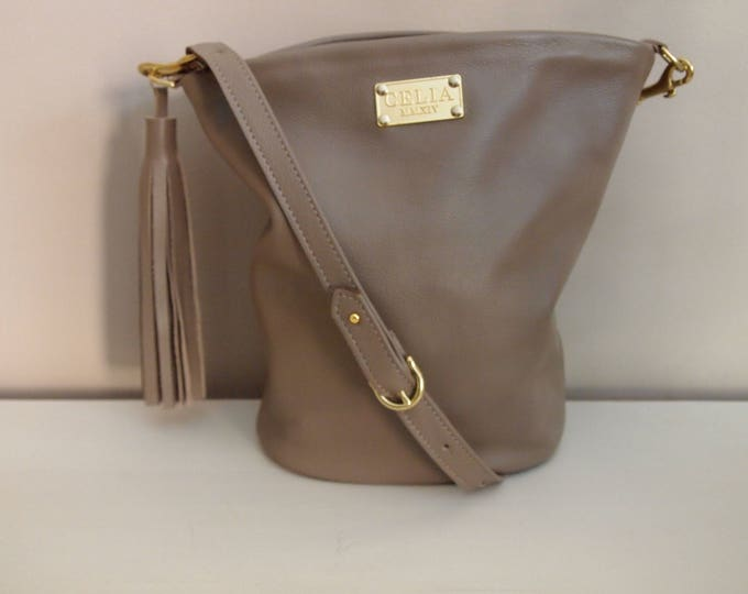 Tan Handmade Small Leather Bucket Bag/ Hobo Bag