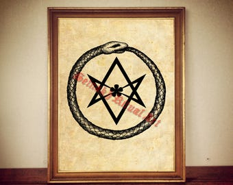 Hexagram and ouroboros snake art print, alchemical, Crowley, Thelema, gnostic poster, occult illustration, magic, vintage home decor #28