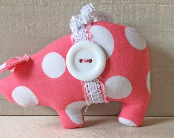 handmade Christmas ornaments - pig ornaments - pink polka dots - shabby cottage decor - novelty ornaments - shabby chic decor - pink pigs