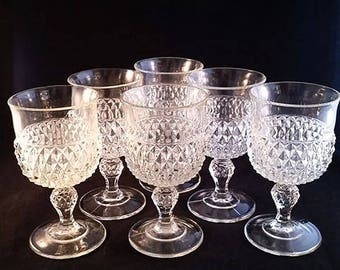 Indiana Glass Diamond Point Goblets S/6