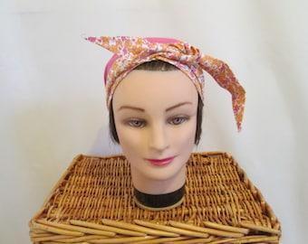 Smart headband scarf turban chemo bandana fuchsia with orange flowers