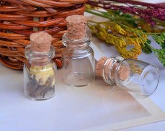 SET of 5 glass jars + CORK (12x18x6mm) (PZ015)