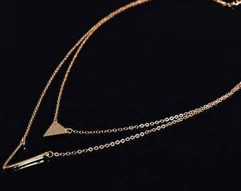Double Layered Triangle Necklace