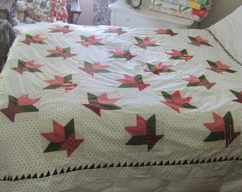 Very Exceptional Civil War Era Cactus Baskets + Shirting Quilt TOP 68X76""