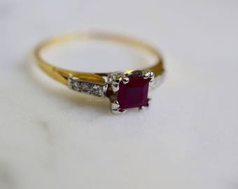 Vintage Princess Cut Ruby And Diamond Ring