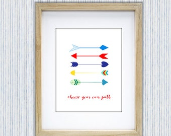 Arrows. Choose Your Own Path. Arrows with Inspirational Quote. Inspirational Arrow Print. Tribal Arrows.Arrows For Nursery or Childs room